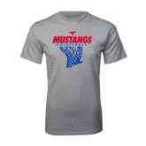 Grey T Shirt-Mustangs Basketball Stacked w/ Net