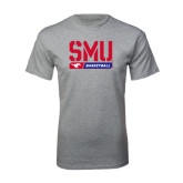 Grey T Shirt-SMU Basketball Stencil