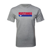 Grey T Shirt-Mustangs Basketball Stacked Bar