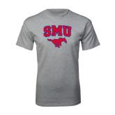 Grey T Shirt-SMU w/Mustang