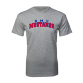 Grey T Shirt-Arched SMU Mustangs