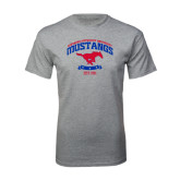 Grey T Shirt-Arched Mustangs w/ Banner