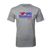 Grey T Shirt-Stacked SMU Mustangs Design