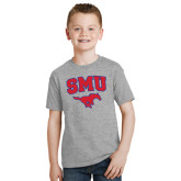 Youth Grey T-Shirt-SMU w/Mustang
