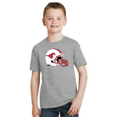 Youth Grey T-Shirt-SMU Football Helmet