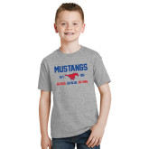 Youth Grey T-Shirt-Stacked Mustangs Design