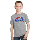 Youth Grey T-Shirt-Stacked SMU Mustangs Design