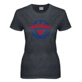 Ladies Dark Heather T Shirt-Mustangs Basketball Arched w/ Ball
