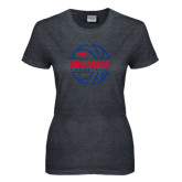 Ladies Dark Heather T Shirt-Mustangs Basketball Lined Ball