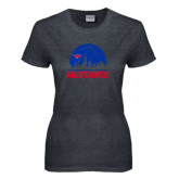 Ladies Dark Heather T Shirt-Mustangs Basketball Dallas Skyline