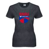 Ladies Dark Heather T Shirt-SMU Basketball Stacked on Ball