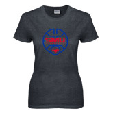 Ladies Dark Heather T Shirt-SMU Basketball Block Stacked in Circle