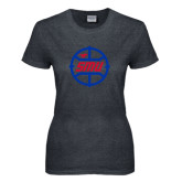 Ladies Dark Heather T Shirt-SMU Basketball Block in Circle