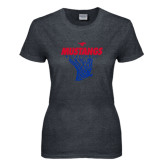 Ladies Dark Heather T Shirt-Mustangs Basketball Stacked w/ Net