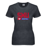 Ladies Dark Heather T Shirt-SMU Basketball Stencil