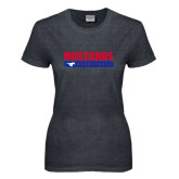Ladies Dark Heather T Shirt-Mustangs Basketball Stacked Bar