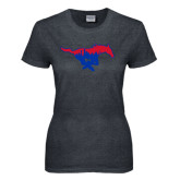Ladies Dark Heather T Shirt-Dallas Skyline Logo