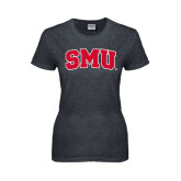 Ladies Dark Heather T Shirt-Block SMU