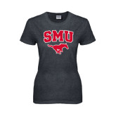 Ladies Dark Heather T Shirt-SMU w/Mustang