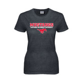 Ladies Dark Heather T Shirt-Stacked Mustangs w/ Pony