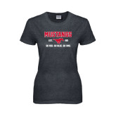 Ladies Dark Heather T Shirt-Stacked Mustangs Design