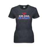 Ladies Dark Heather T Shirt-Go Red Go Blue Go SMU