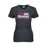 Ladies Dark Heather T Shirt-Stacked SMU Mustangs Design