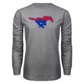 Grey Long Sleeve T Shirt-Dallas Skyline Logo