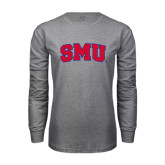 Grey Long Sleeve T Shirt-Block SMU