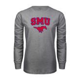 Grey Long Sleeve T Shirt-SMU w/Mustang