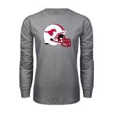 Grey Long Sleeve T Shirt-SMU Football Helmet