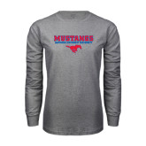 Grey Long Sleeve T Shirt-Stacked Mustangs w/ Pony
