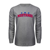 Grey Long Sleeve T Shirt-Arched SMU Mustangs