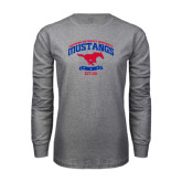 Grey Long Sleeve T Shirt-Arched Mustangs w/ Banner