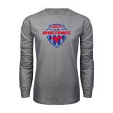 Grey Long Sleeve T Shirt-Mustangs in Shield