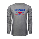 Grey Long Sleeve T Shirt-Stacked Mustangs Design