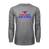 Grey Long Sleeve T Shirt-Go Red Go Blue Go SMU