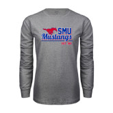 Grey Long Sleeve T Shirt-Stacked SMU Mustangs Design