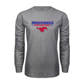 Grey Long Sleeve T Shirt-Stacked Athletic Mustangs Design