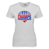 Ladies White T Shirt-2017 AAC Regular Season Champs - Mens Basketball Half Ball