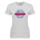 Ladies White T Shirt-AAC Regular Season Champions 2017 Mens Basketball Lined Ball