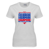 Ladies White T Shirt-2017 AAC Regular Season Champions Repeating - Mens Basketball