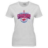 Ladies White T Shirt-2017 AAC Conference Champions - Mens Basketball Arched Banner