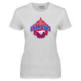 Ladies White T Shirt-2017 AAC Conference Champions - Mens Basketball Arched Net