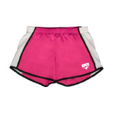Ladies Fuchsia/White Team Short-SMU w/Mustang