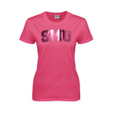 Ladies Fuchsia T Shirt-Block SMU, MG39-714G Fushia
