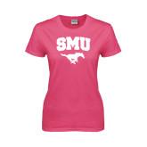 Ladies Fuchsia T Shirt-SMU w/Mustang