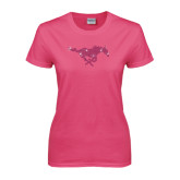 Ladies Fuchsia T Shirt-Rhinestone Pony