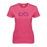 Ladies Fuchsia T Shirt-Rhinestone SMU