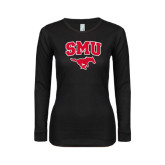 Ladies Black Long Sleeve V Neck Tee-SMU w/Mustang